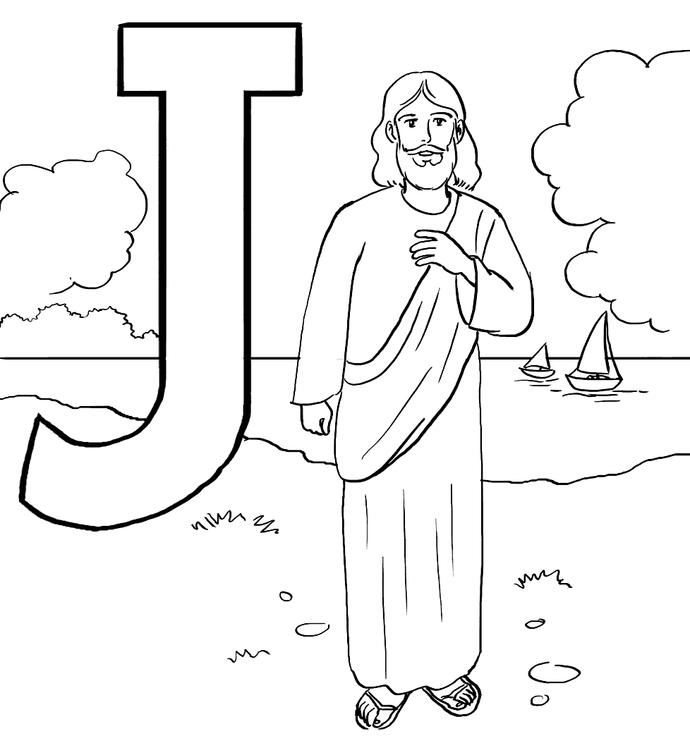 J For Jesus Coloring Page For Kids Coloring Rocks