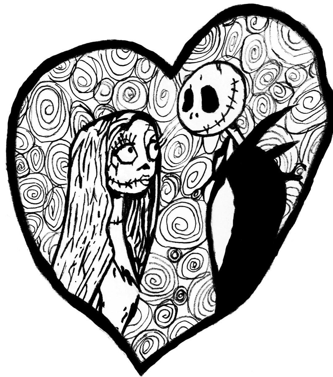 Jack Skelington Heart Coloring Page