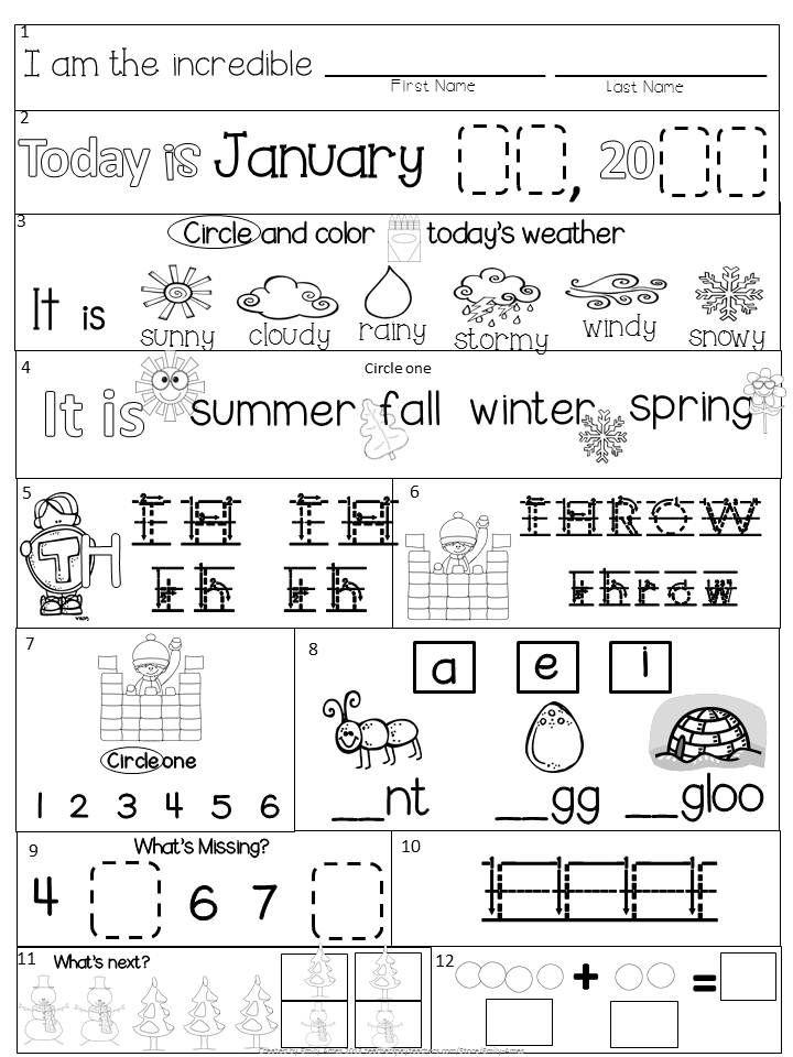 January Activity Sheet