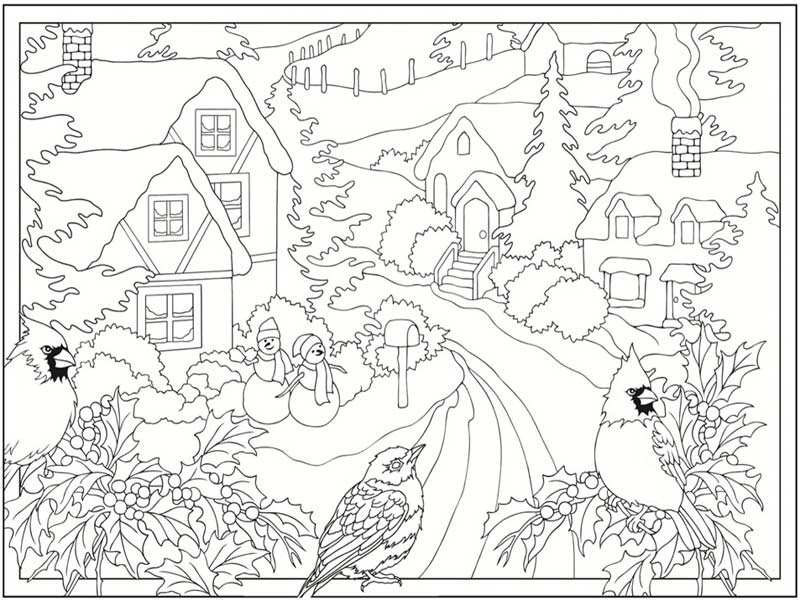 January Winter Scene Coloring Sheet