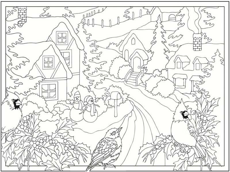 January Winter Scene Coloring Sheet