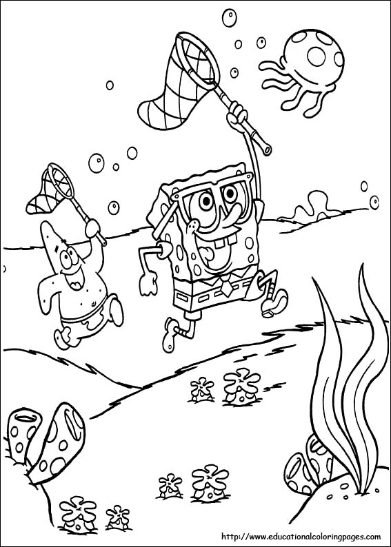 Jellyfish Hunting Spongebob Coloring Pages