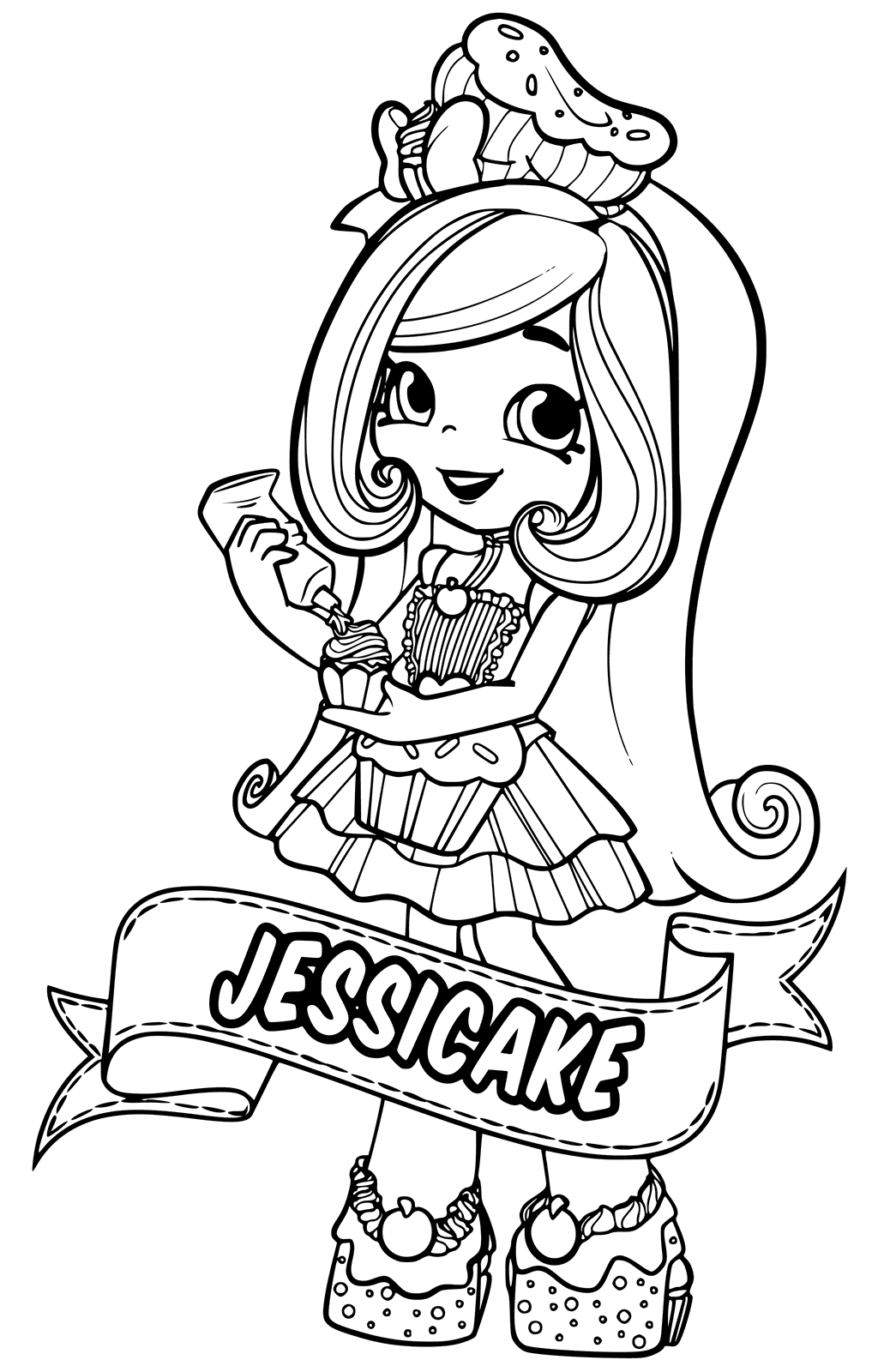JessiCake Shoppies Coloring Pages