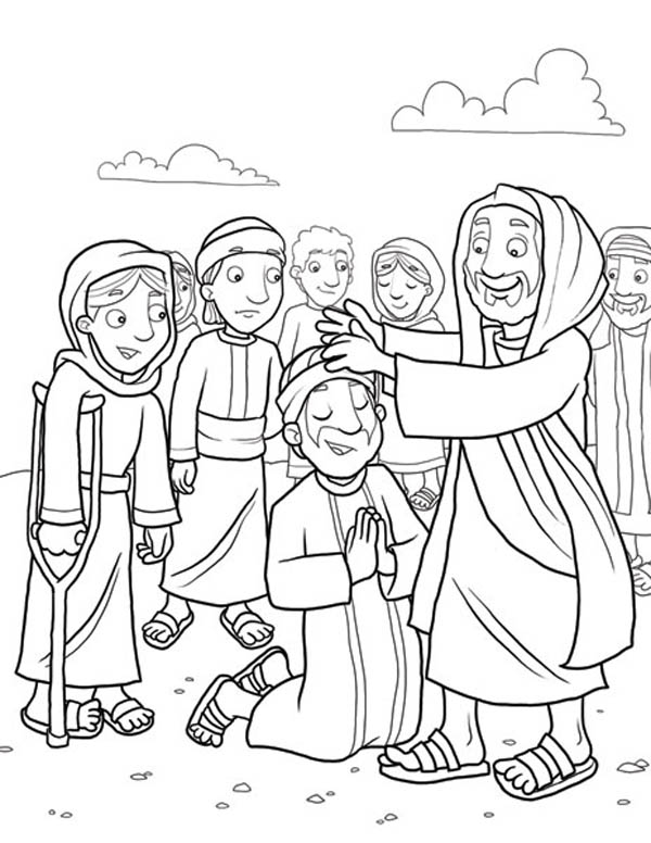 Jesus Heals the Sick - Christian Bible Coloring Pages