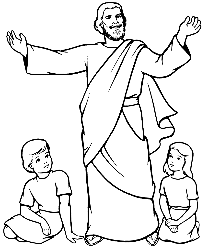 Jesus Teaches The Children Coloring Page – coloring.rocks!