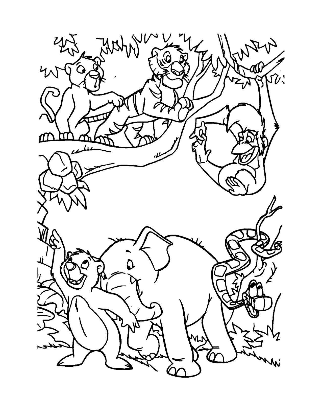 Jungle Book Baby Characters Coloring Page