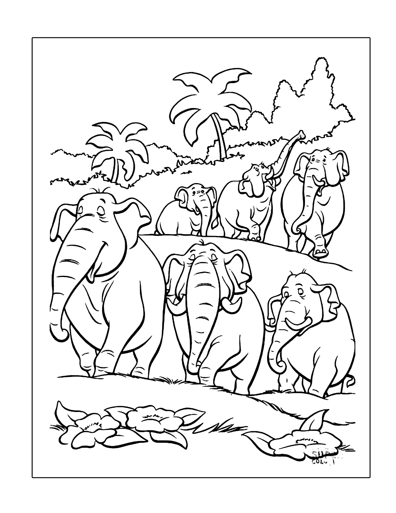 Jungle Book Elephants Coloring Page