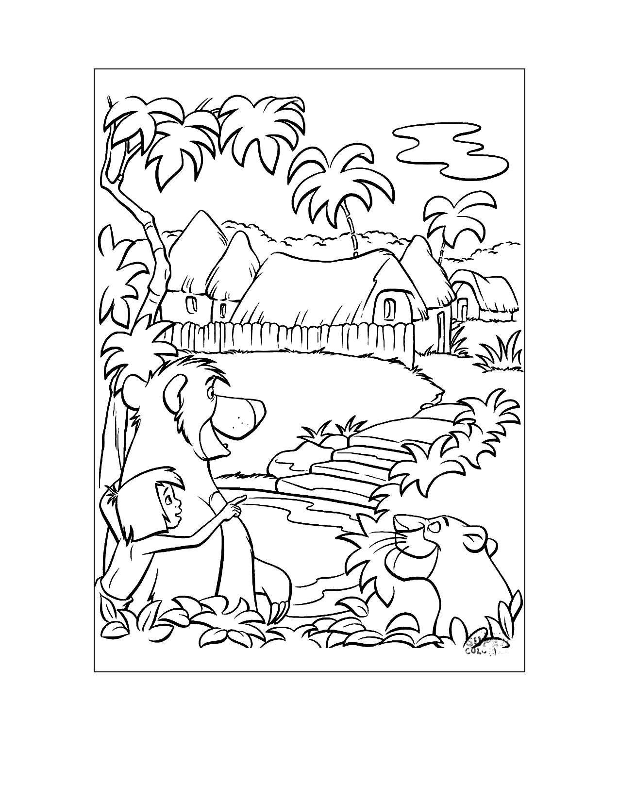 Jungle Book Man Village Coloring Page