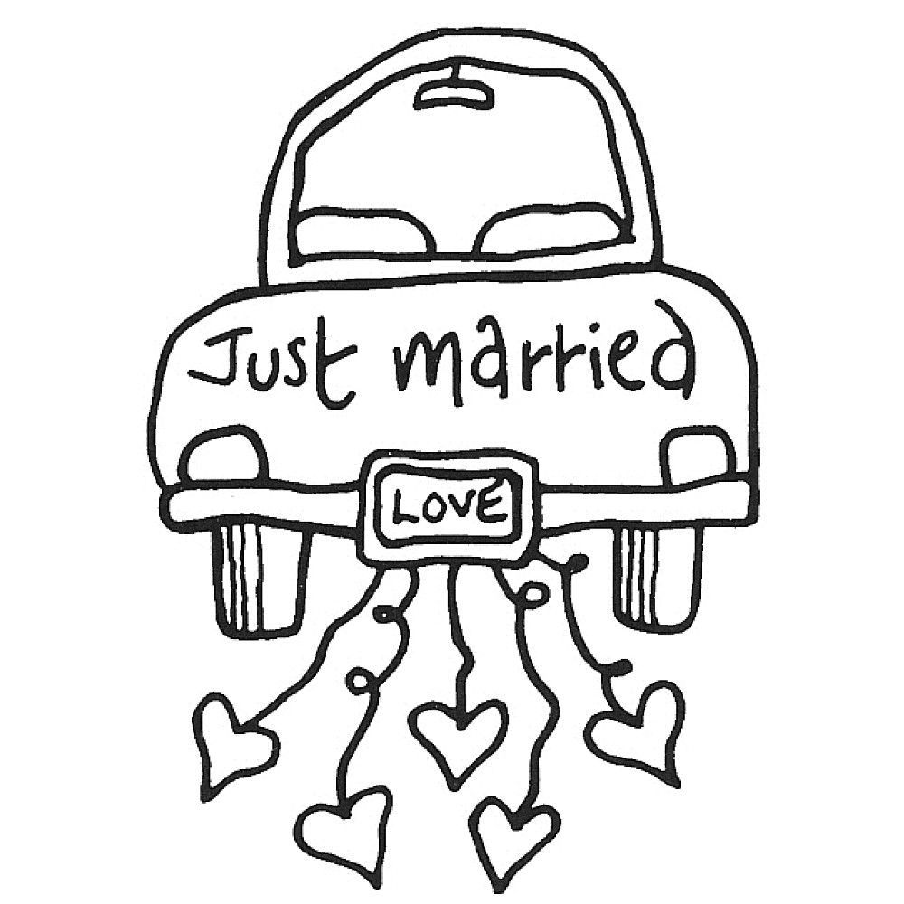 Just Married Drawing to Color