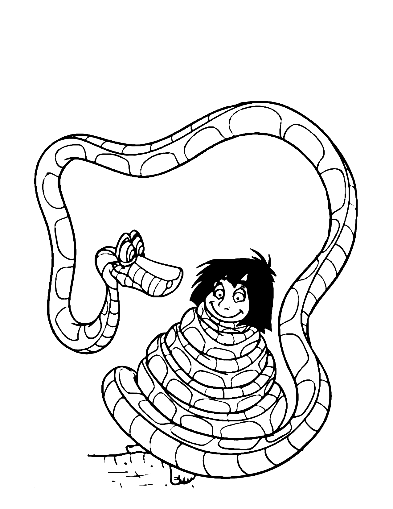 Kaa Captures Mowgli Jungle Book Coloring Page