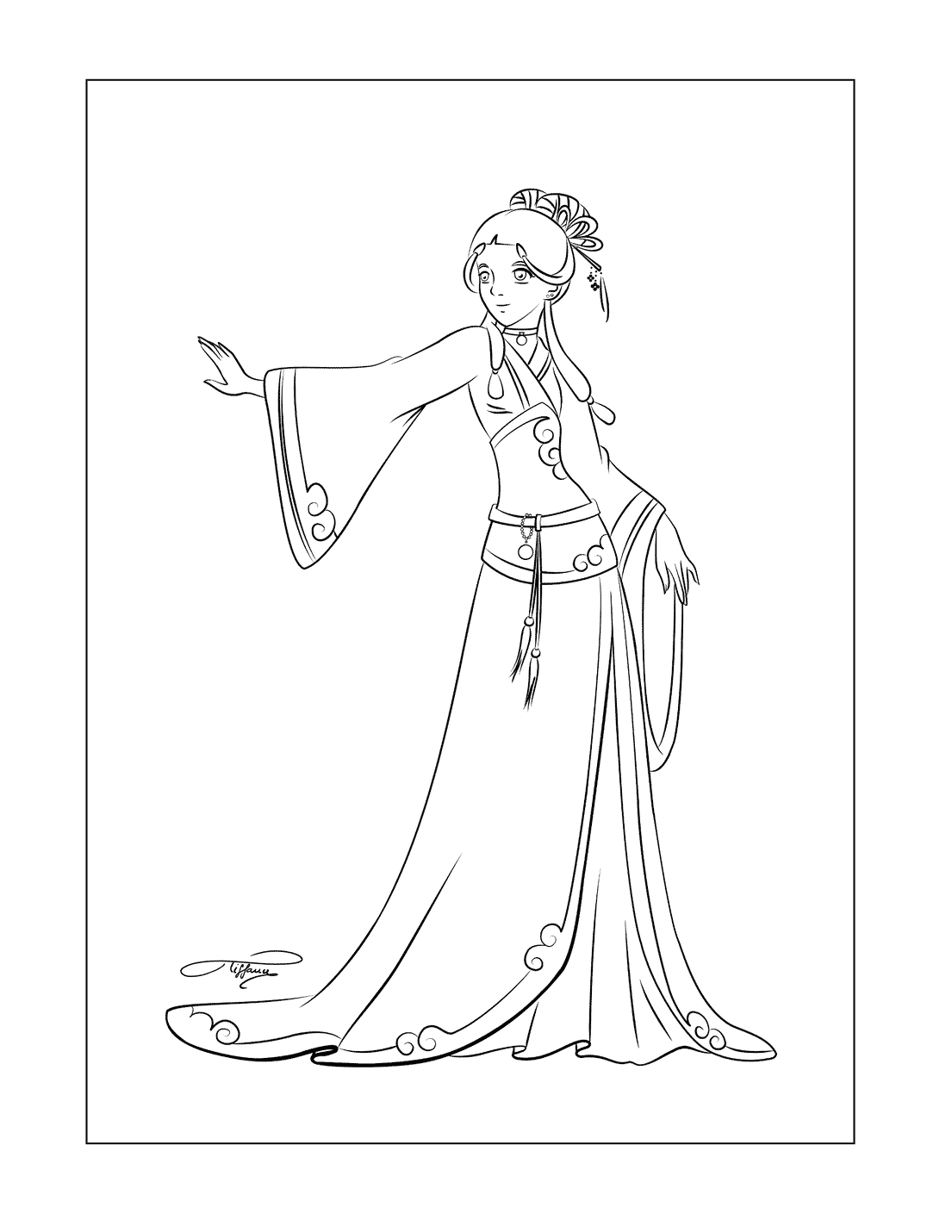 Katara In Dress Avatar Coloring Pages