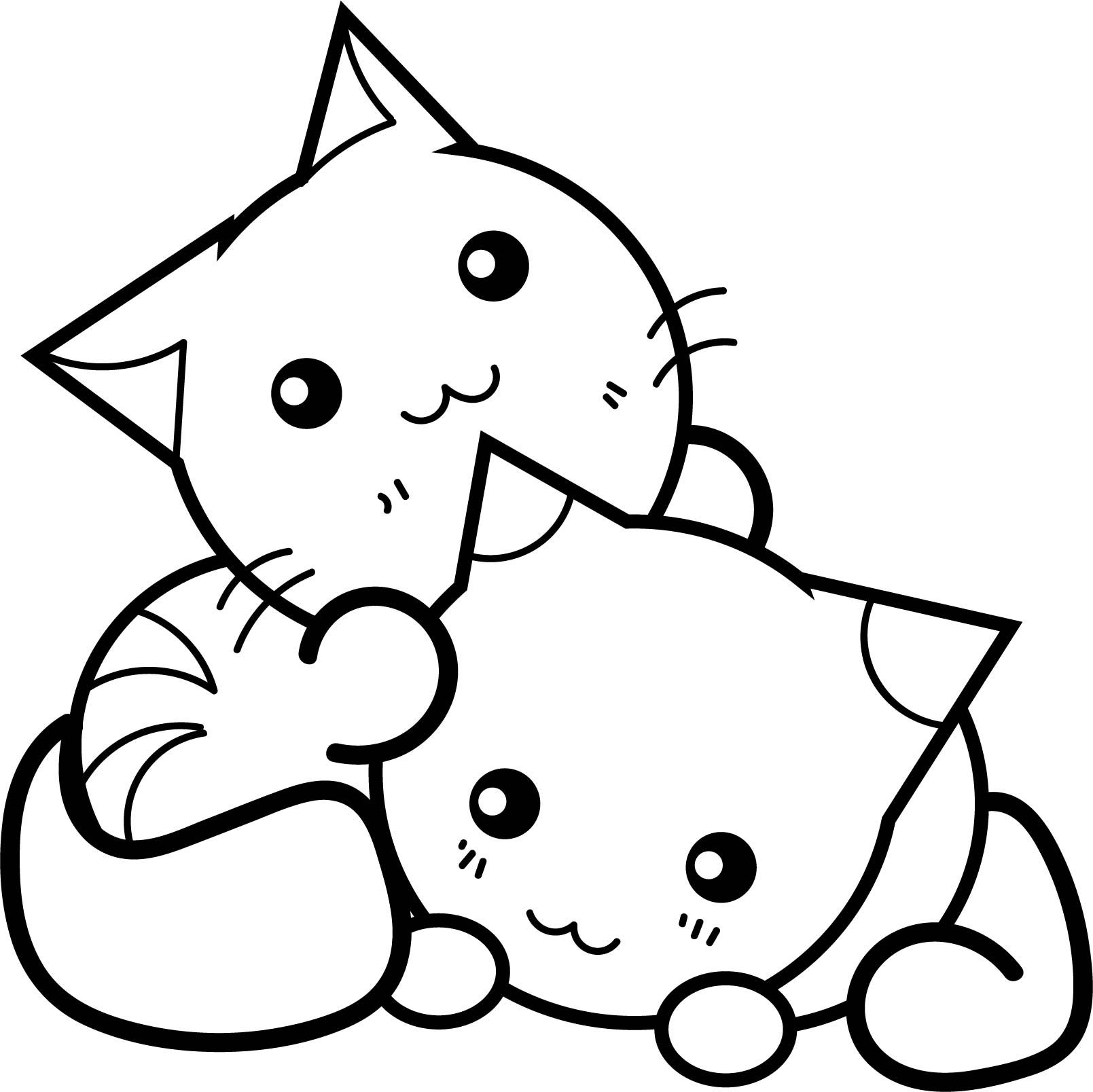 Kawaii Cat Coloring Pages