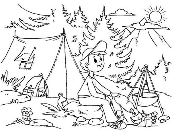 Kid Camping Coloring Pages