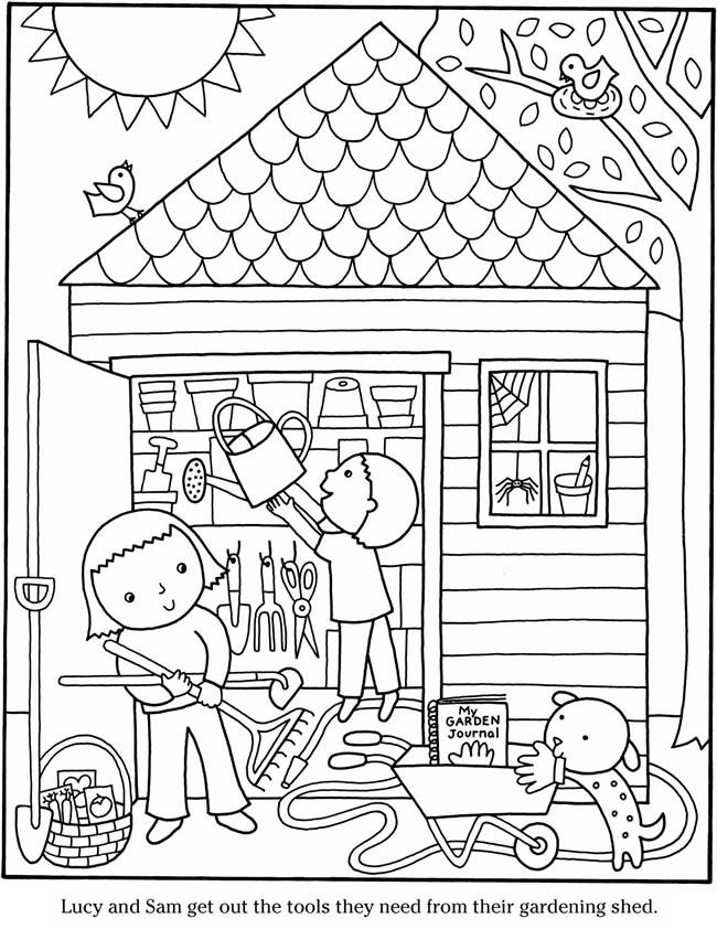 Kids Preparing to Garden Coloring Page