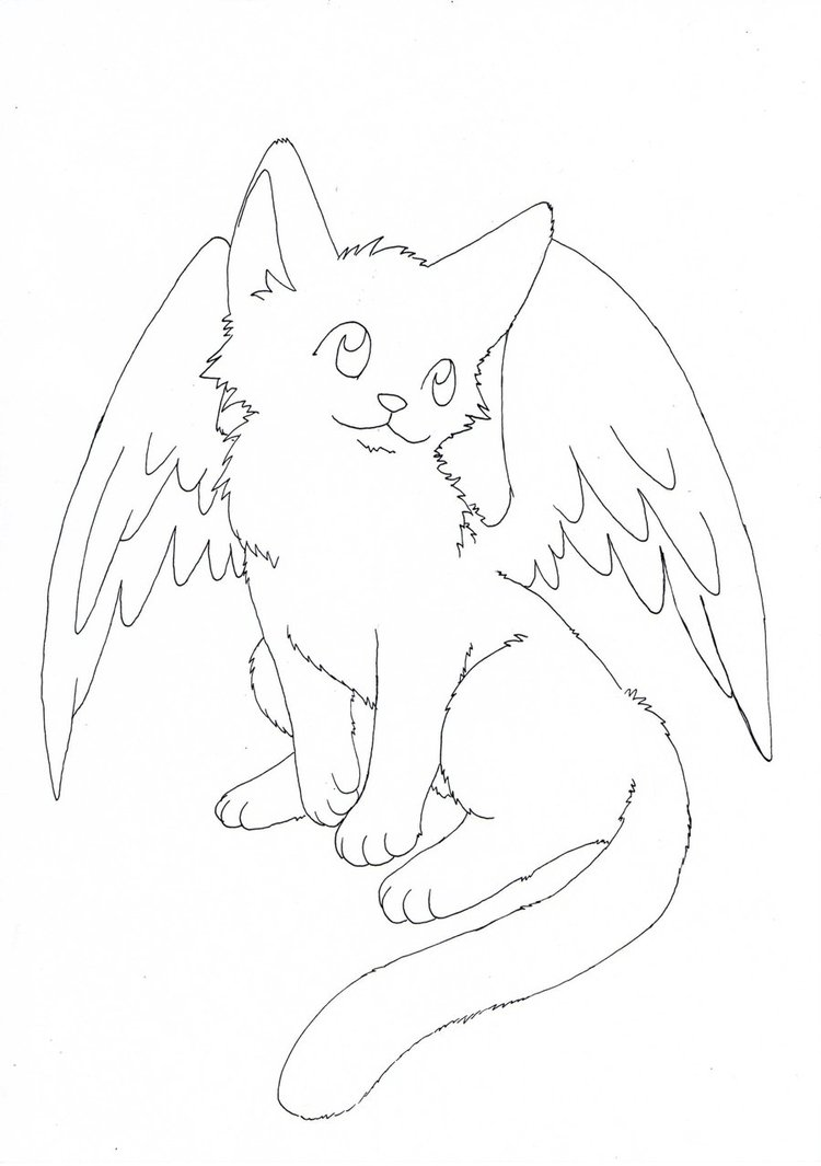 Kitty with Wings Cat Coloring Pages