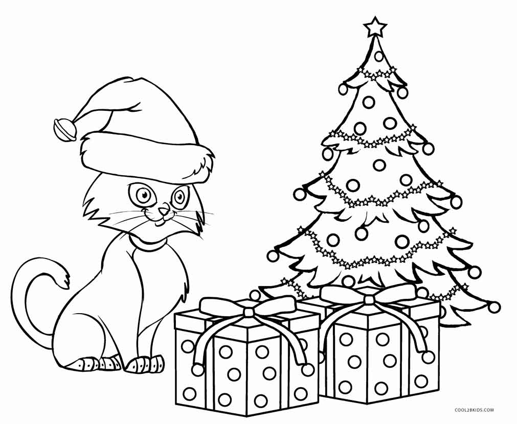 Kittys Christmas Presents Coloring Page Coloring Rocks