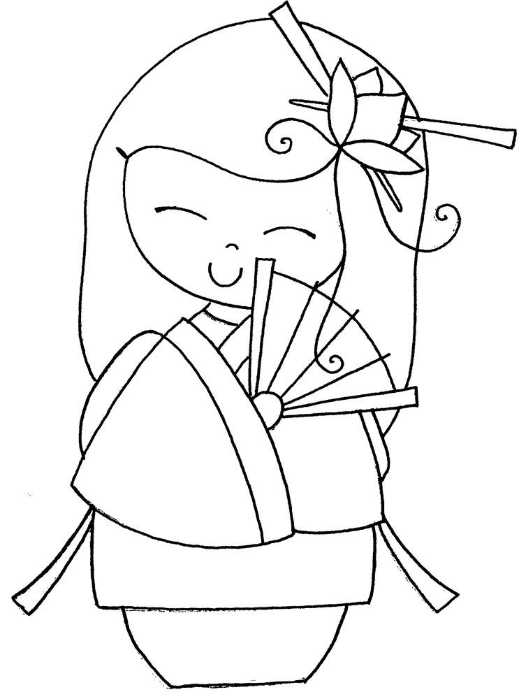 Kokeshi Doll Coloring Pages
