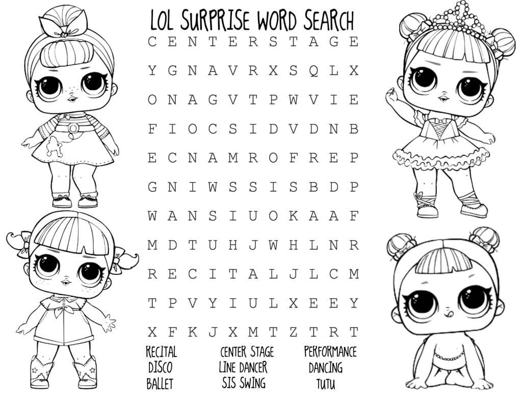 LOL Dolls Printable Word Search Puzzle