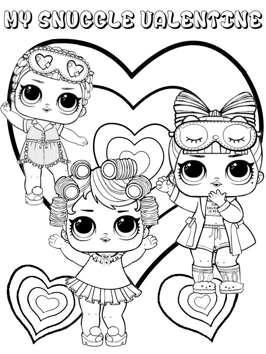 LOL Dolls Valentine Coloring Page