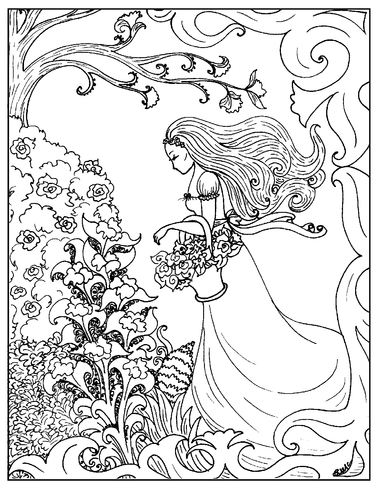 Lady Coloring Pages for Teens