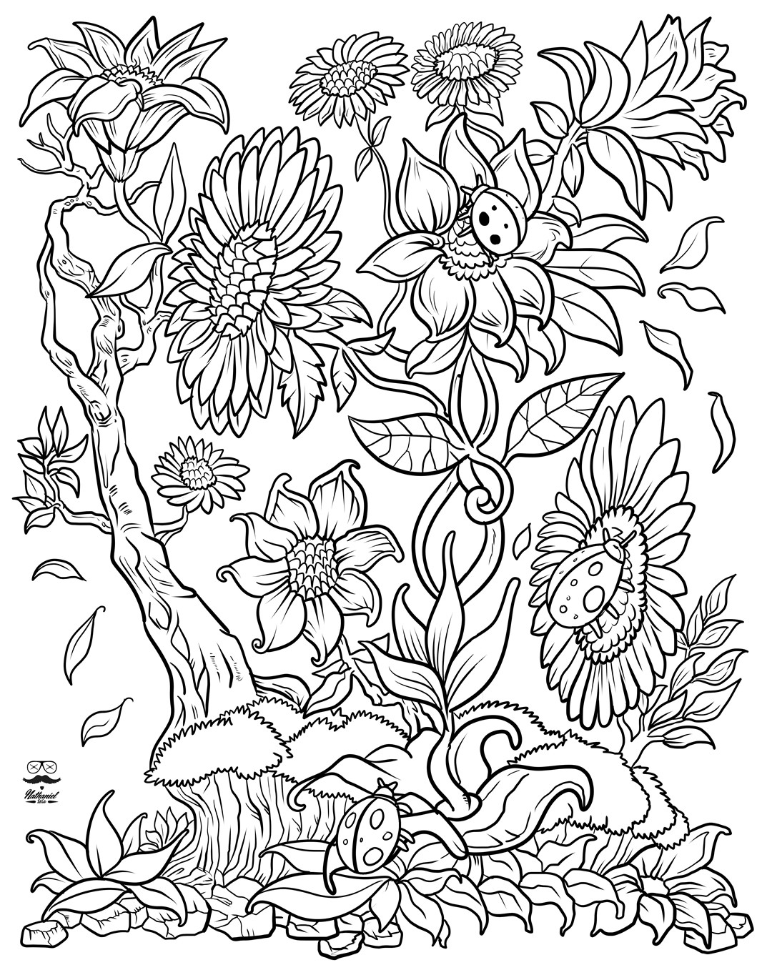 Ladybugs in the Flowers Coloring Page