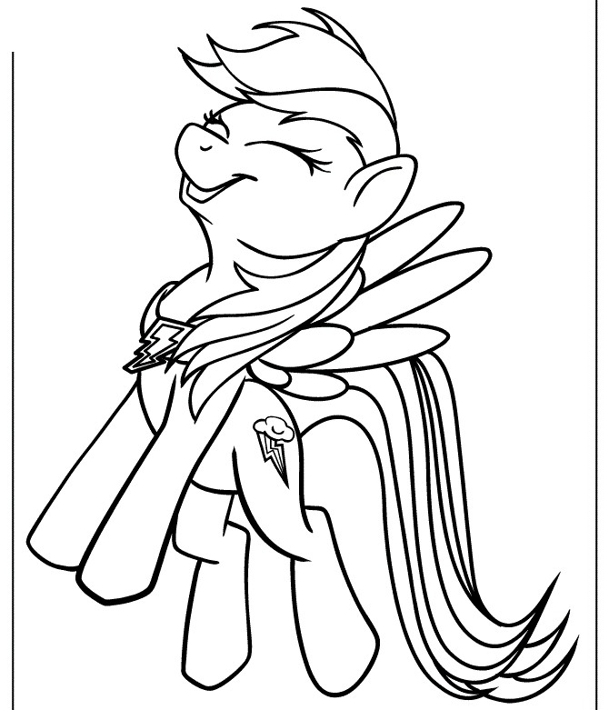 Laughing Rainbow Dash MLP Coloring Pages