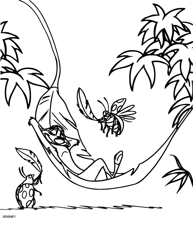 Lazy Timon Lion King Coloring Page