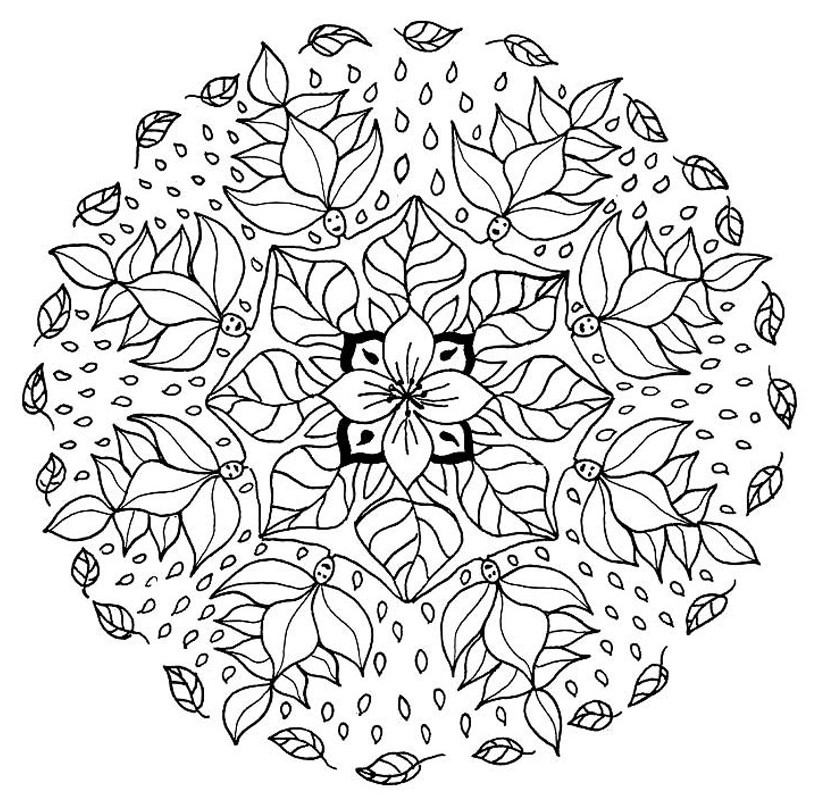 Leaf and Flower Mandala Coloring Page