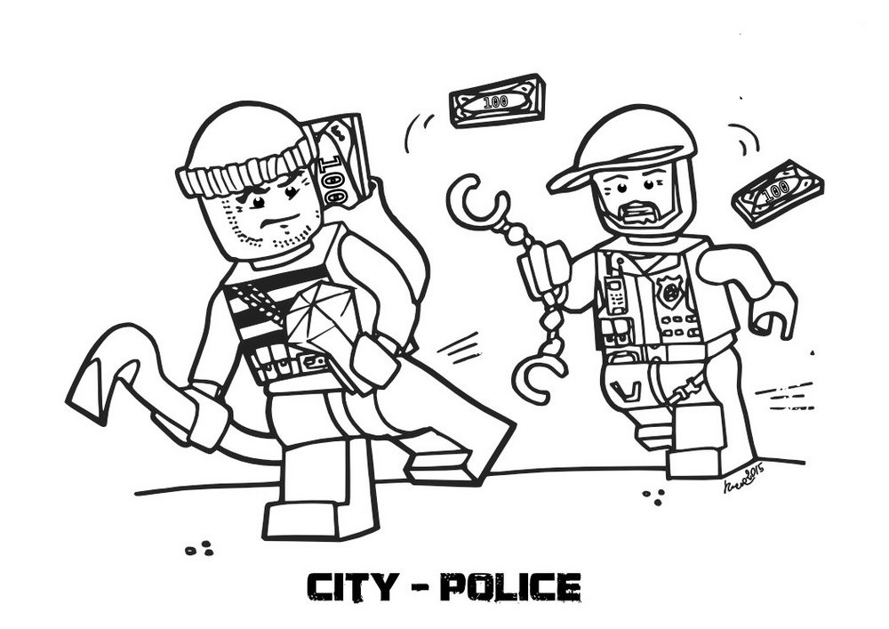 Lego Police Coloring Pages Coloring Rocks