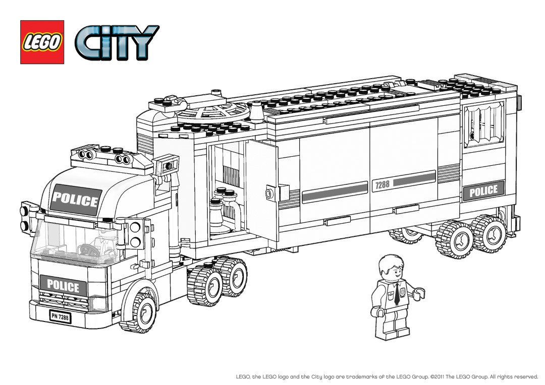 Lego City Police Engine Coloring Pages