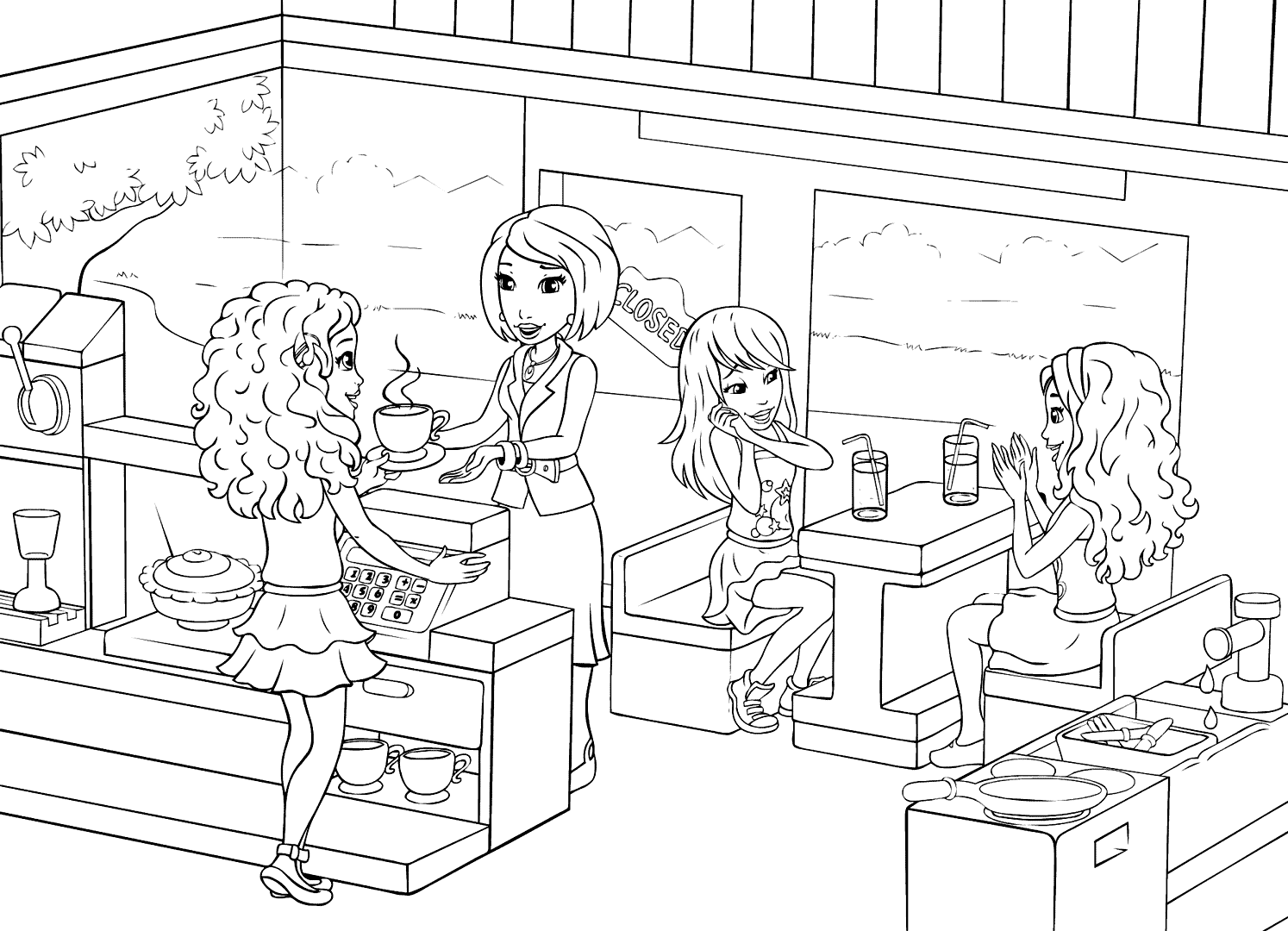 Lego Friends Restaurant Cafe Scene Coloring Page