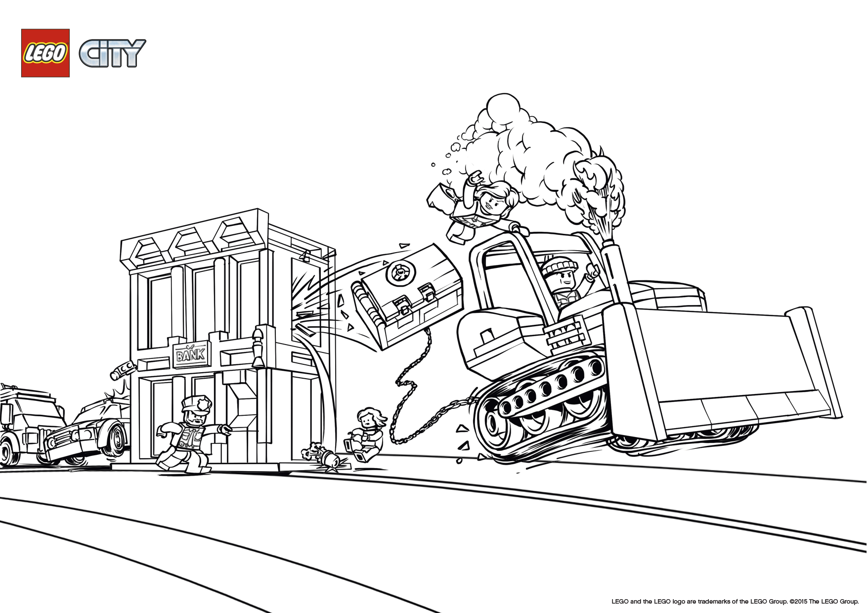 Lego Police Bank Robbery Coloring Pages