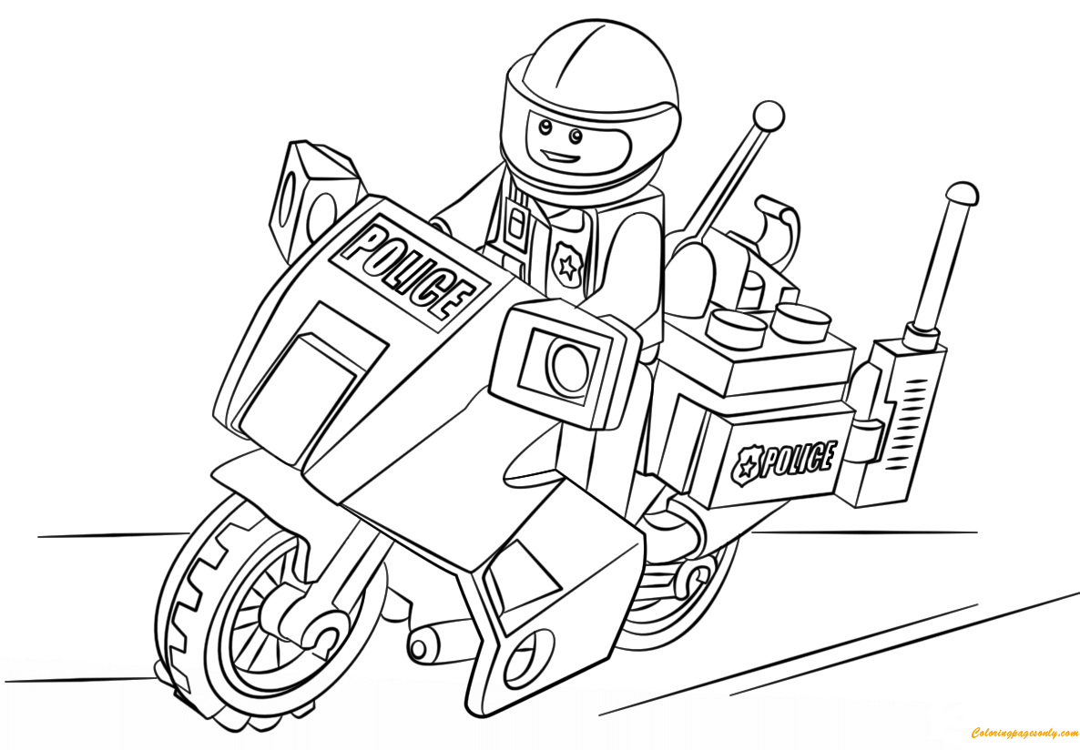 Lego Police Motorcycle Coloring Pages