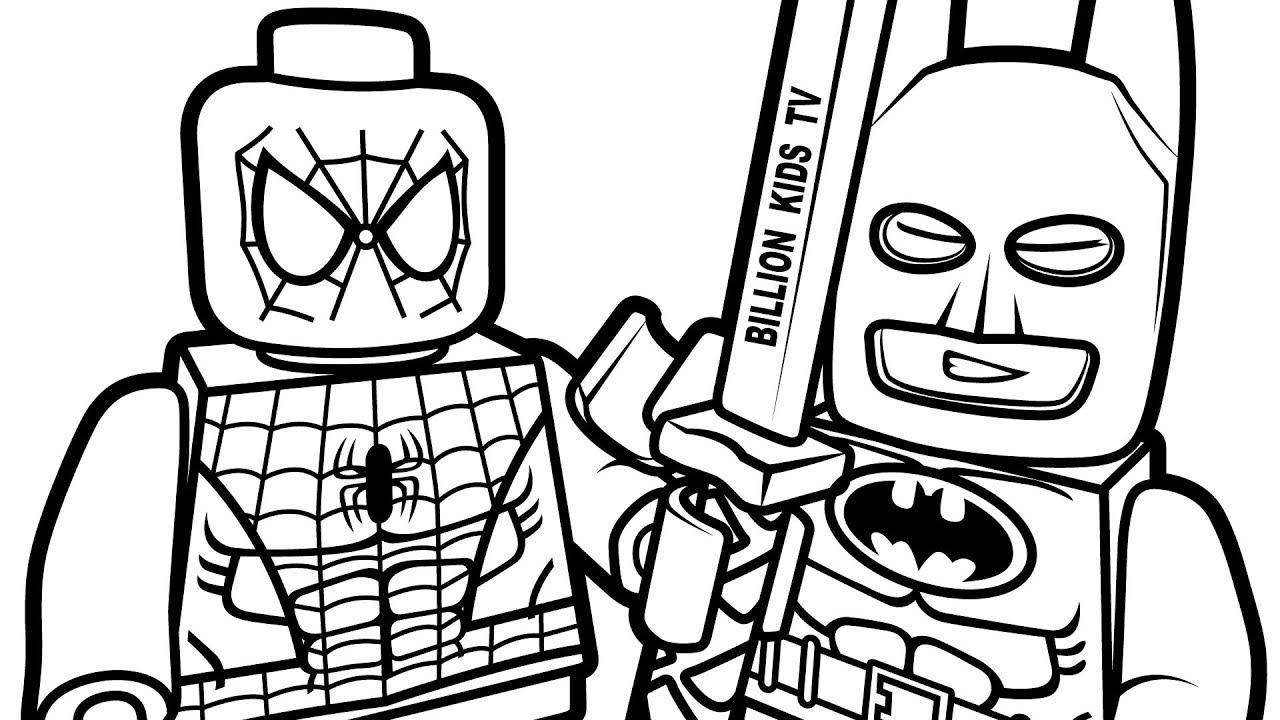 Lego Spiderman Batman Closeup Coloring Pages