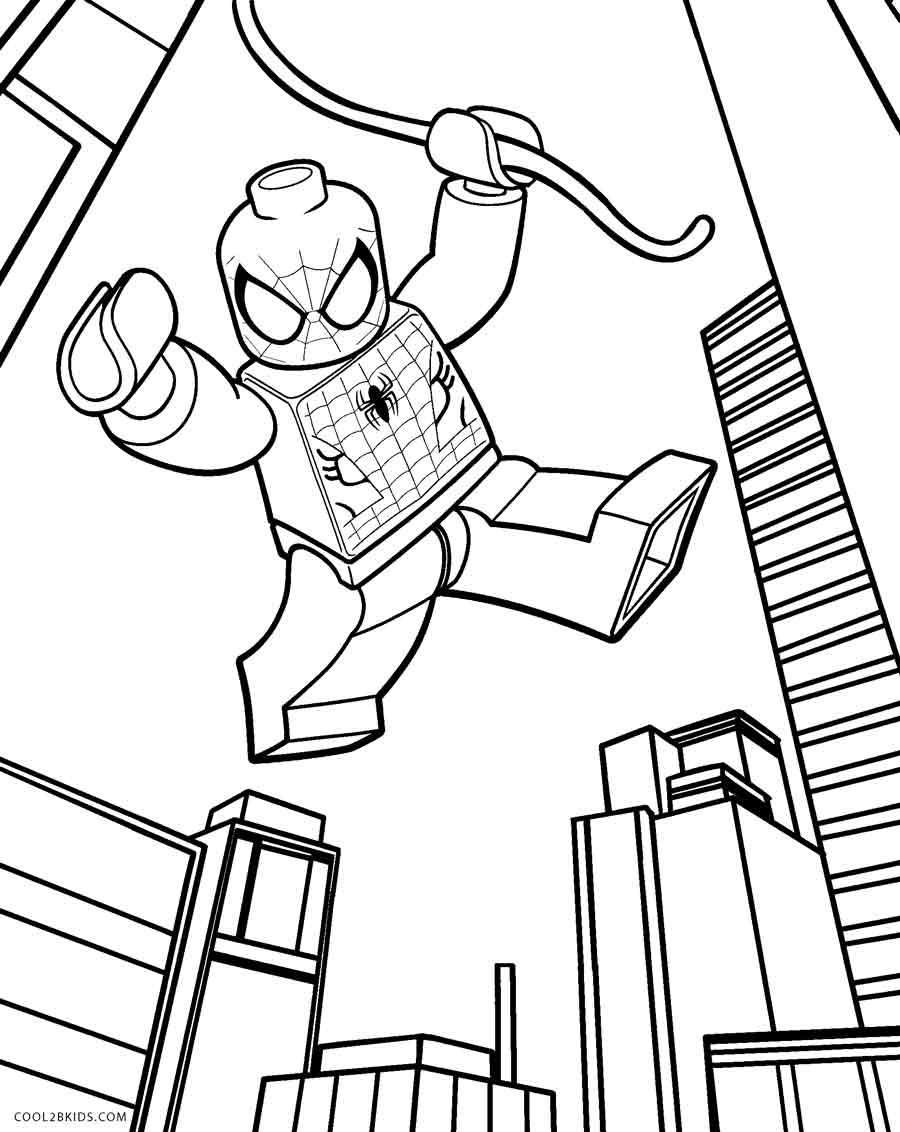 Lego Spiderman City Coloring Pages