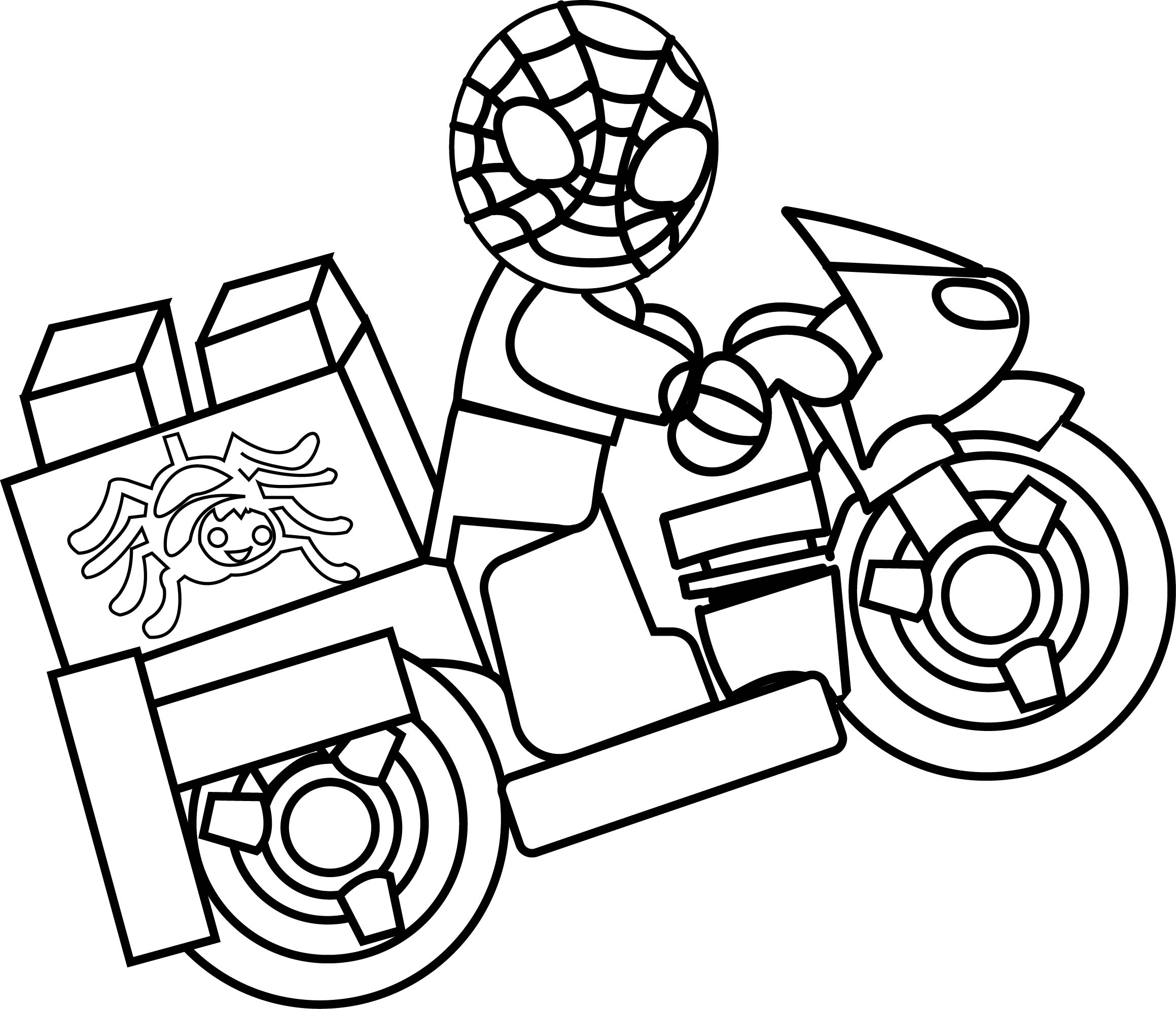 Lego Spiderman Motorcycle Coloring Pages