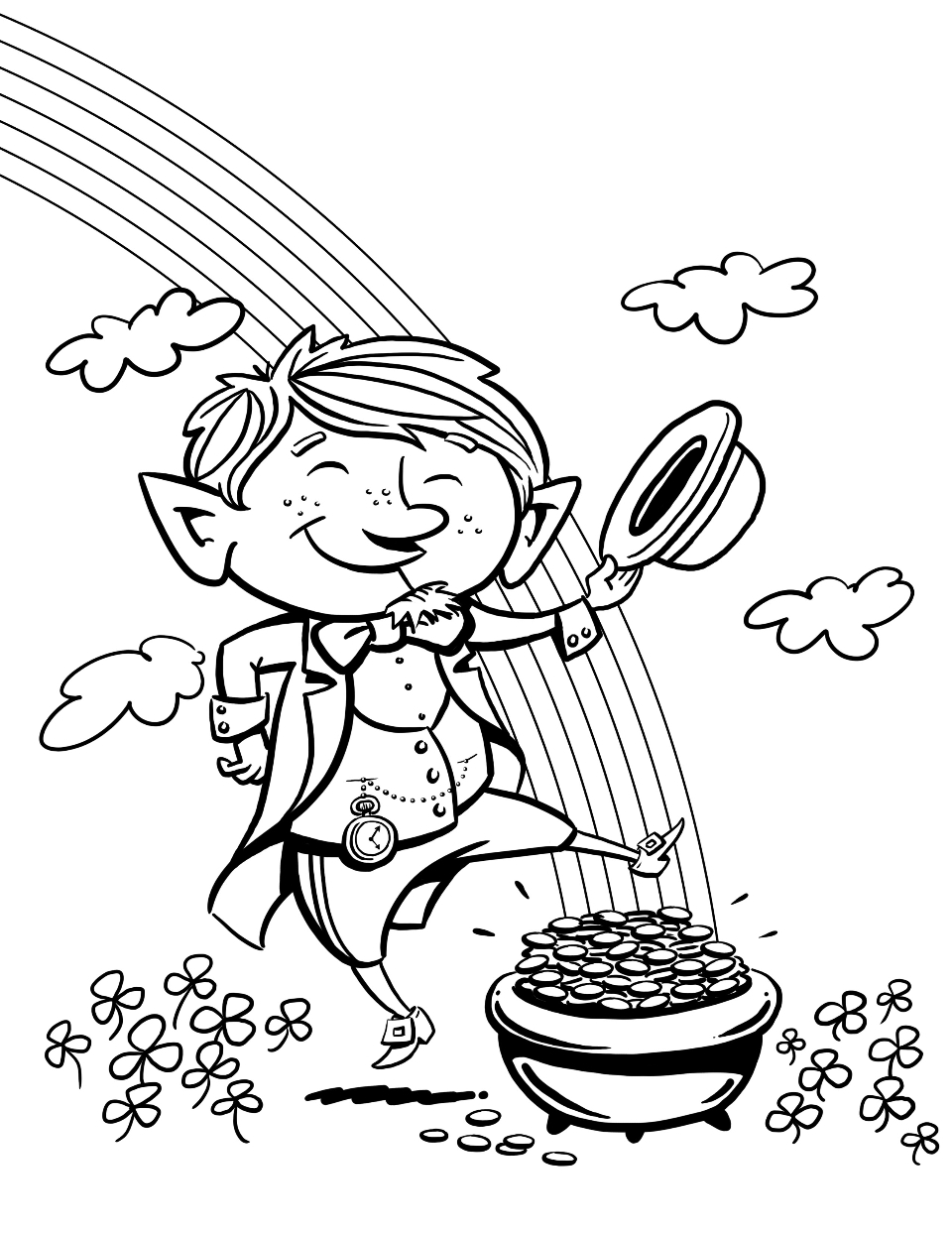 Leprechaun Rainbow - St Patricks Day Coloring Pages