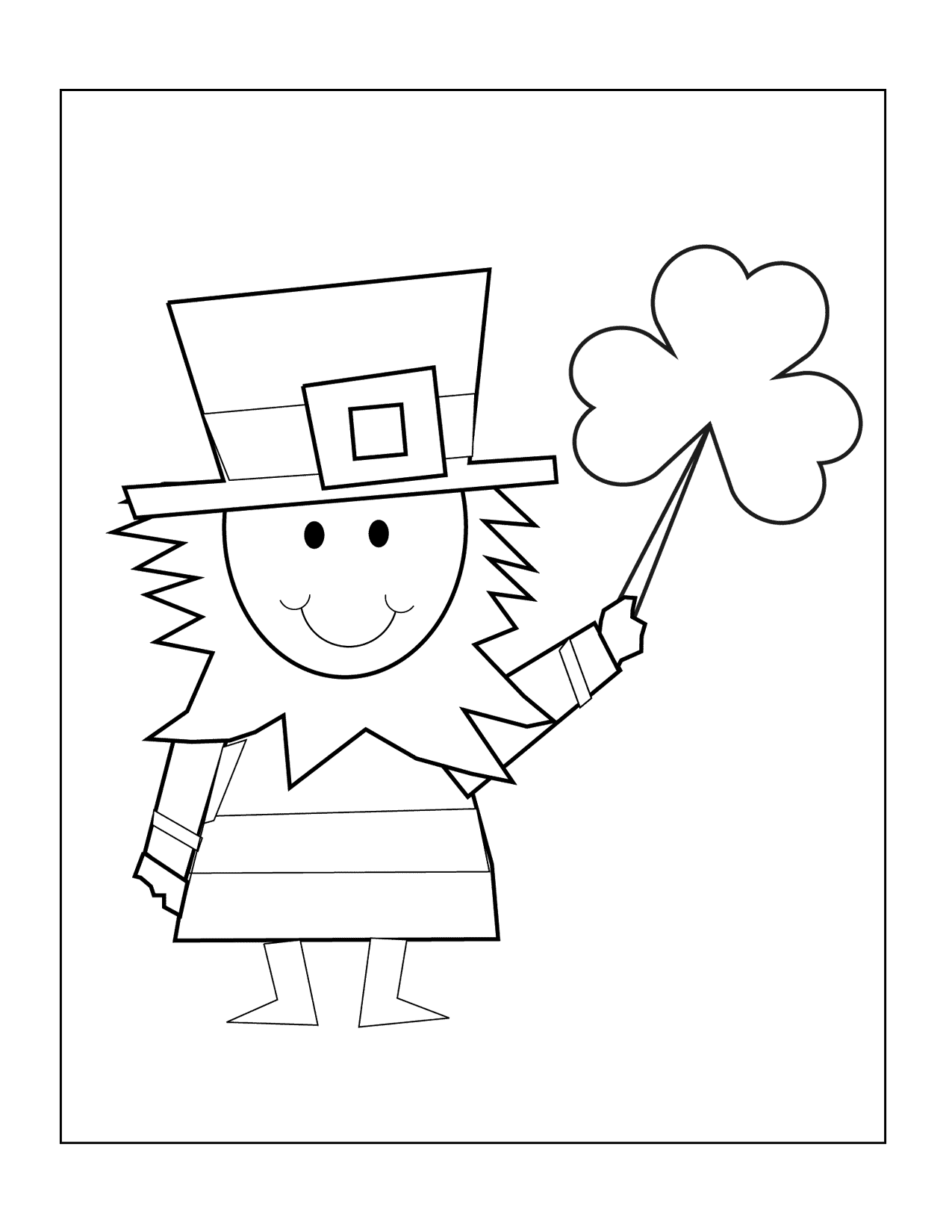 Leprechaun And Shamrock Coloring Page