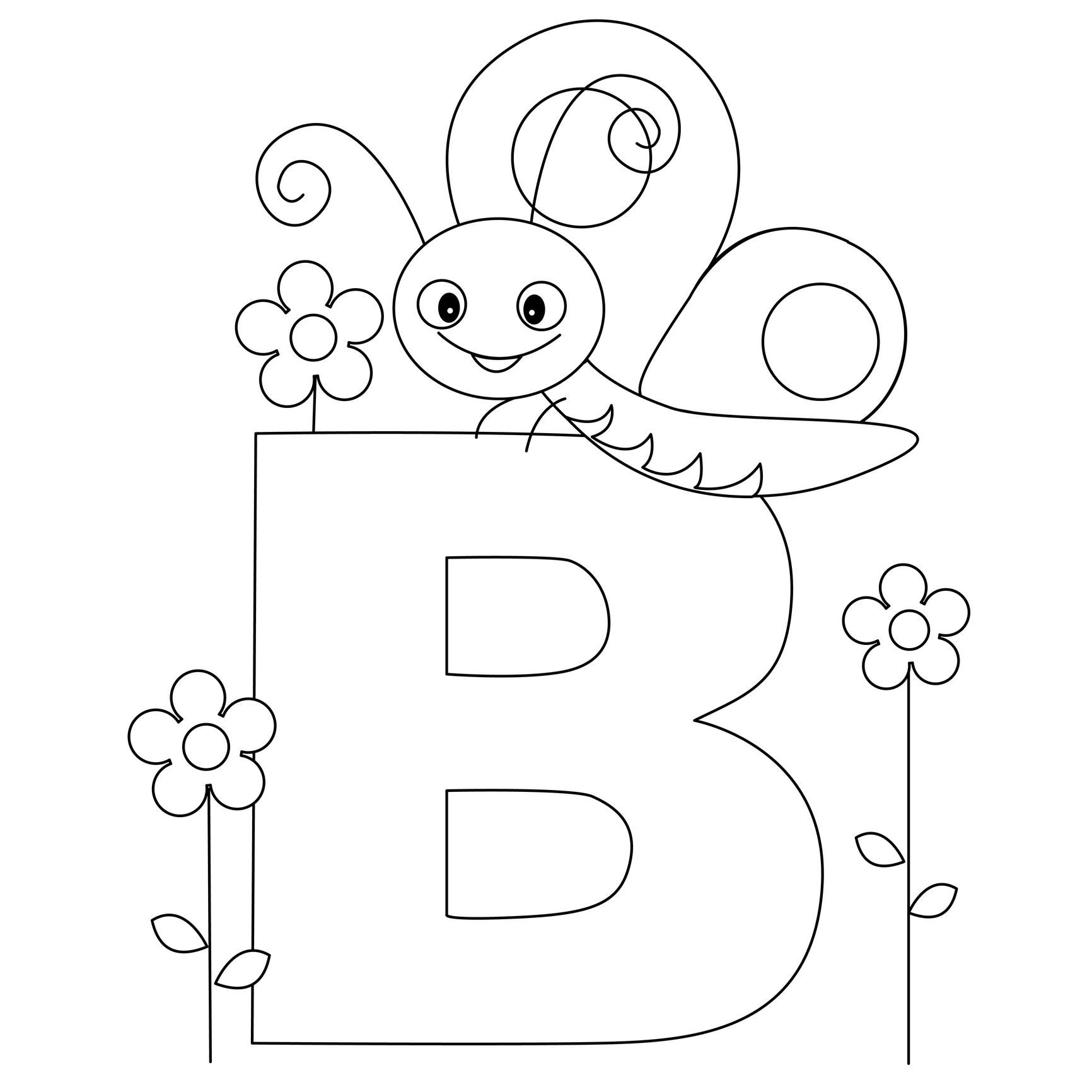 Letter B Coloring Page for Kindergarten