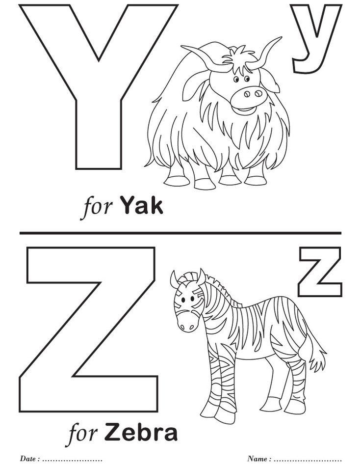Letter Y and Z Kindergarten Worksheet