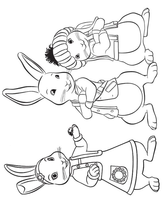 Lily Peter and Benjamin Rabbit Coloring Page