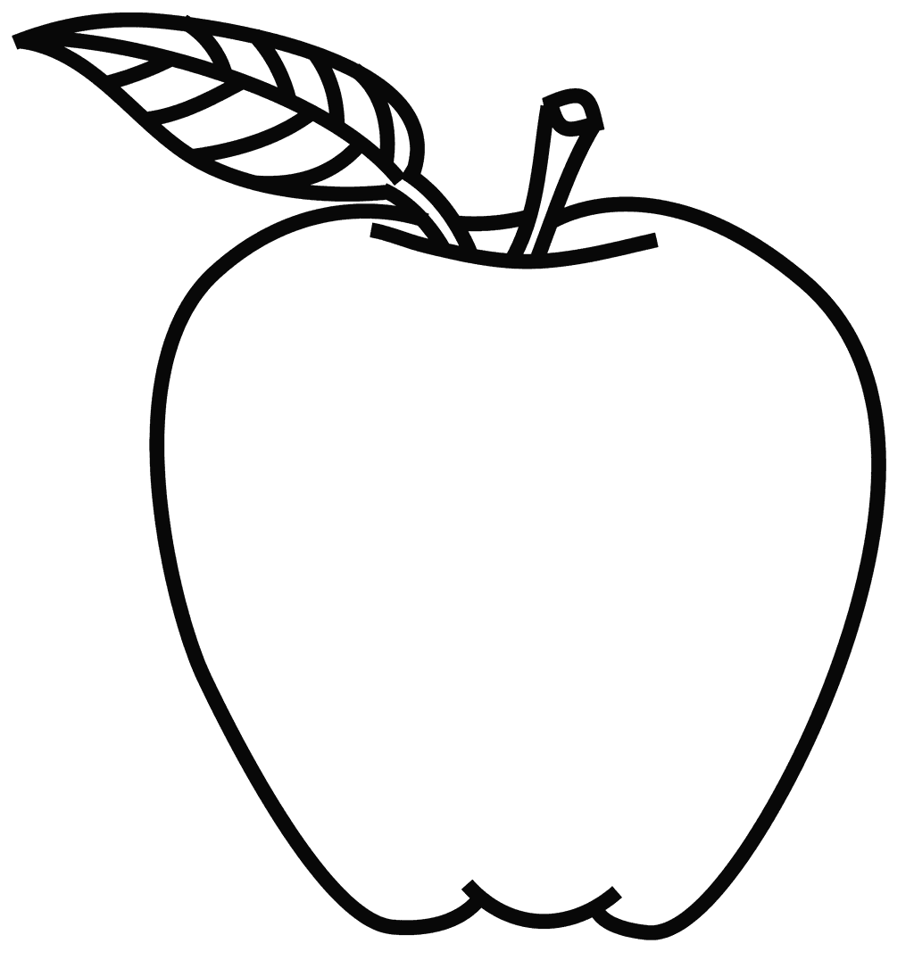 Line Art Apple Coloring Page for Kids