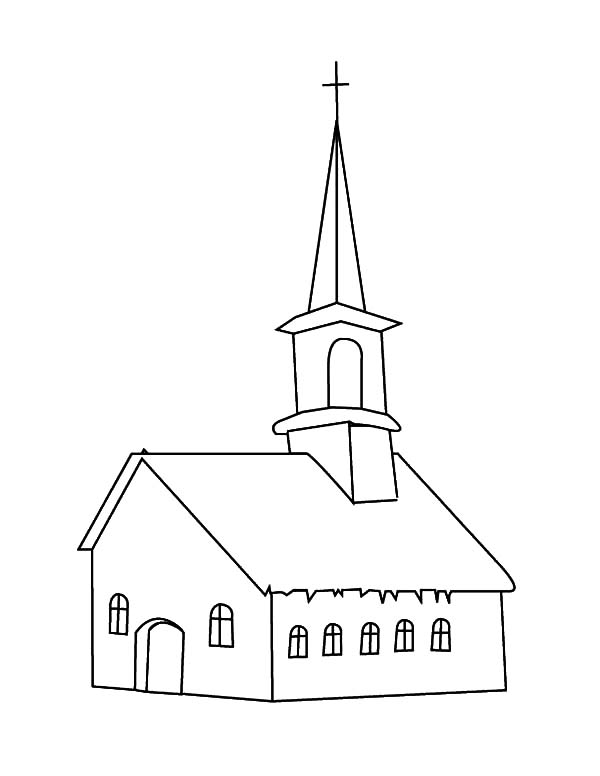 Line Art Church to Color