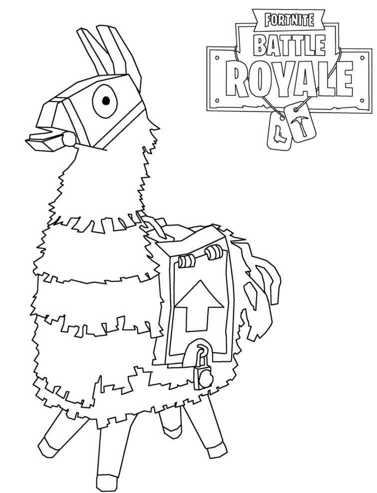 Llama Fortnite Coloring Pages