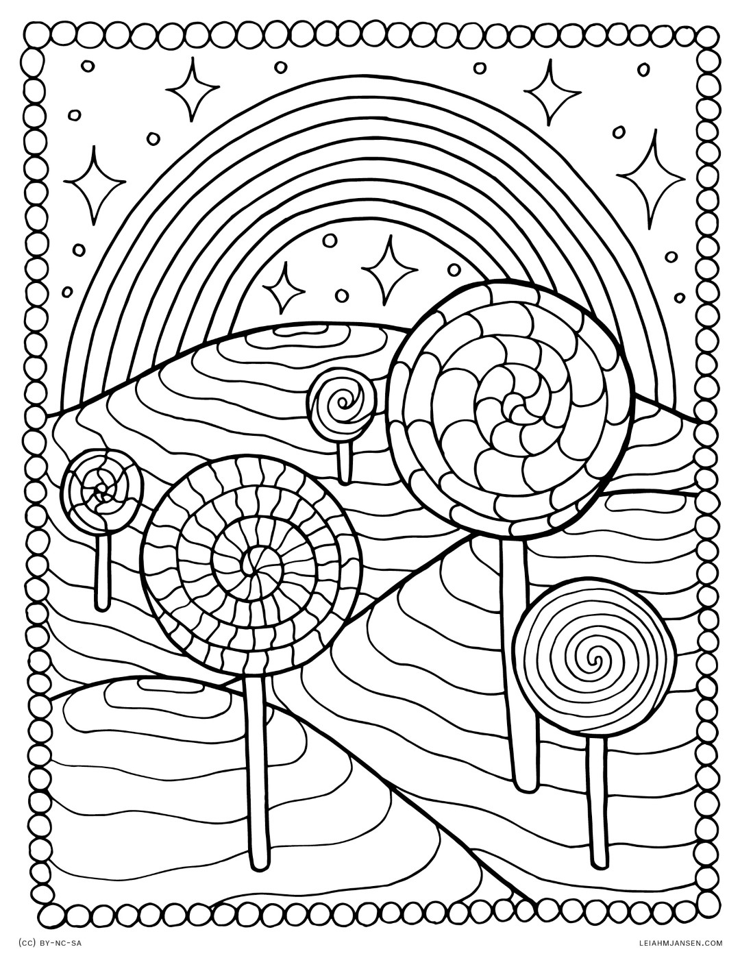 Lollipops and Rainbow Coloring Page