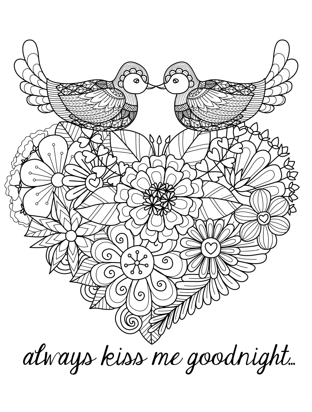 Love Birds Valentines Day Coloring Pages for Adults