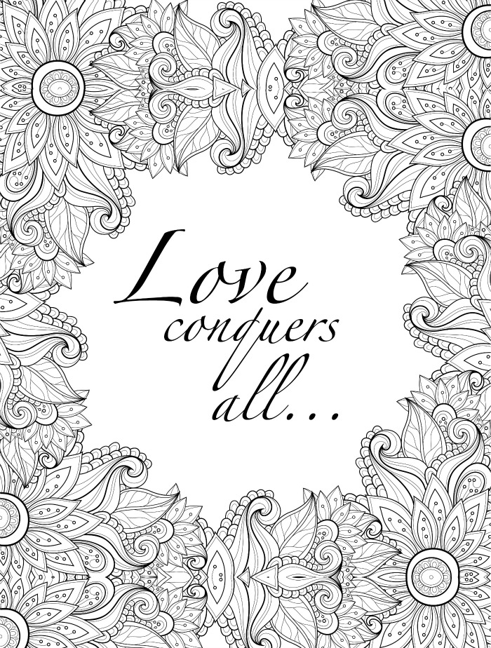 Love Conquers All Adult Coloring Page