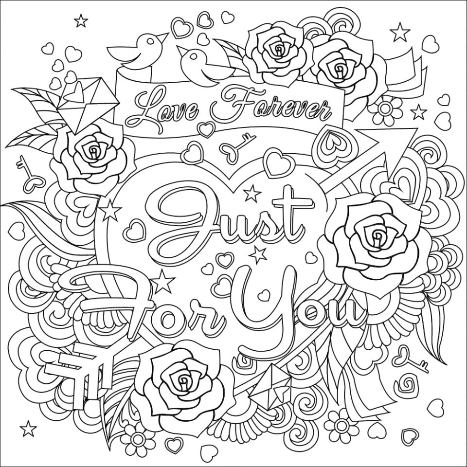 Love Forever Valentines Day Coloring Pages for Adults