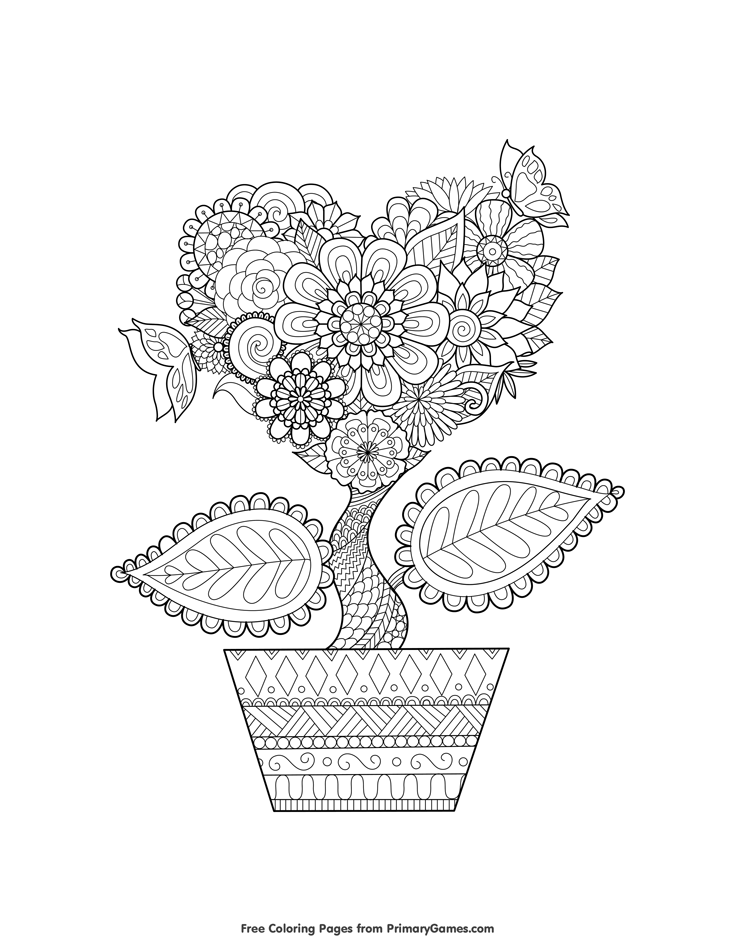 Love Grows Coloring Page for Adults