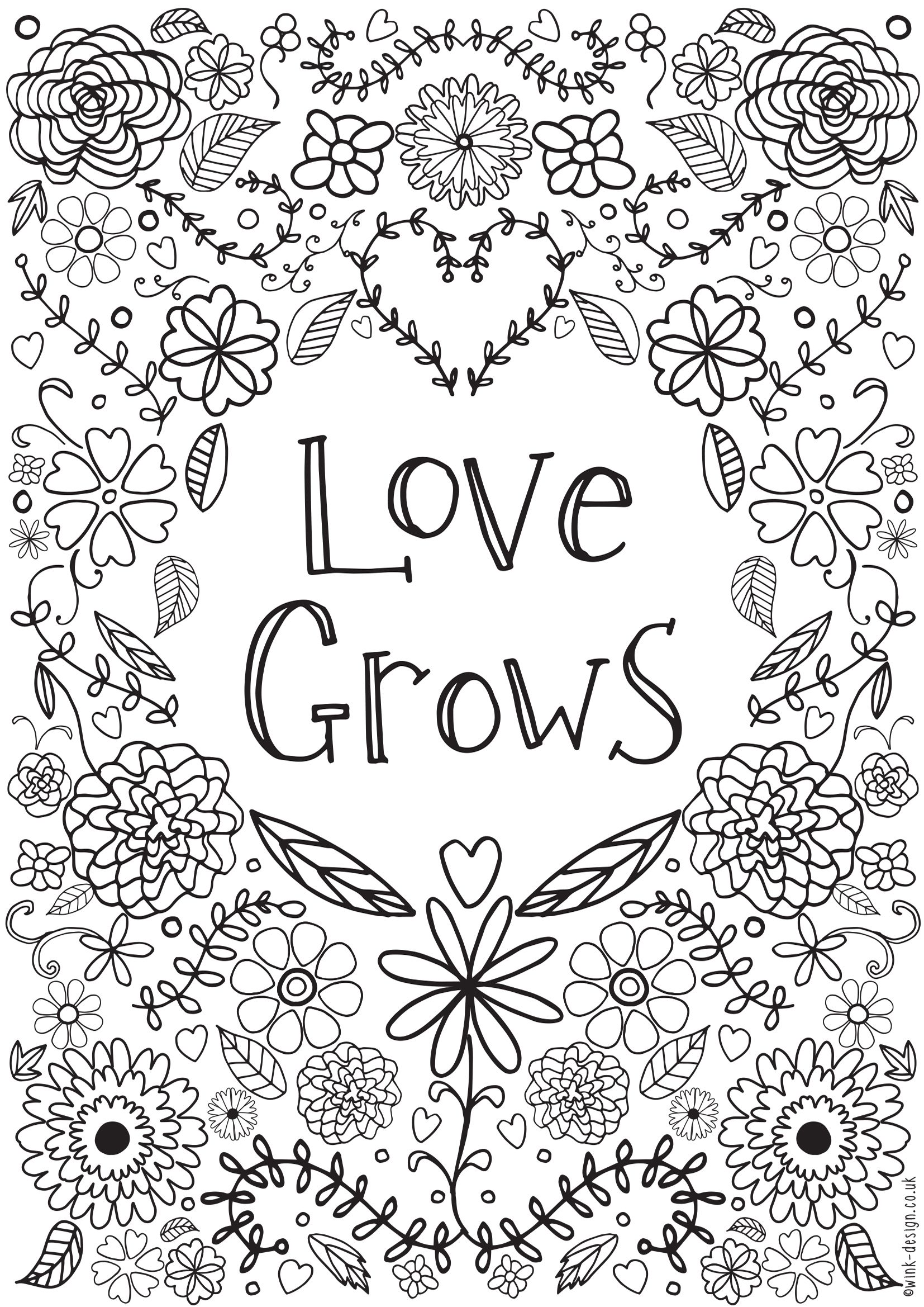 Love Grows Doodle Art Coloring Page